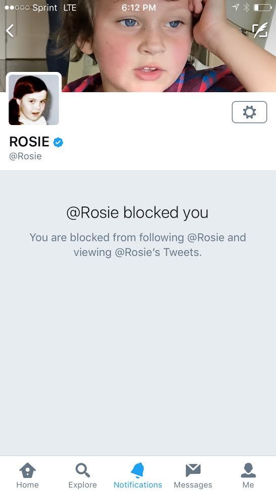 Rosie blocks me
